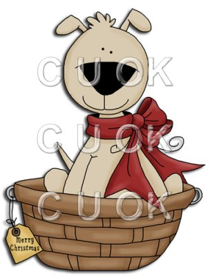 REF693 - Christmas Dog In Basket