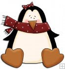 REF724- Christmas Cute Girl Penguin With Bow