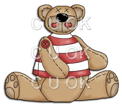 REF315 - Button Bear Wearing Red & White Striped Jumper