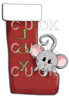 REF773- Christmas Stocking With Mouse