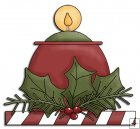 REF833 - Candle With Holly Christmas Arrangement