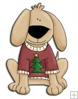 REF695 - Christmas Dog In A Red Jumper With Christmas Tree On