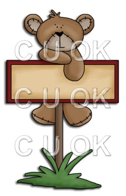 REF560 - Red Daisy Bear On A Sign