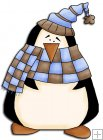 REF720- Christmas Penguin With Check Scarf