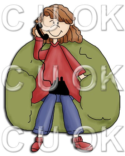 REF28 - Girl Sitting On A Bean bag On the Phone - Click Image to Close
