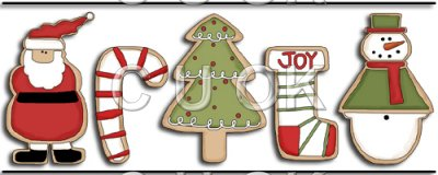 REF663 - Christmas Cookie Border Santa Tree Snowman Candy Cane