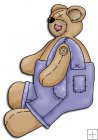 REF313 - Button Bear Wearing Blue Jeans Dungarees