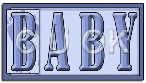 REF134 - Blue Baby Word Art - Click Image to Close