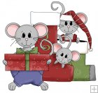 REF760- Christmas Mice With Stockings And Presents