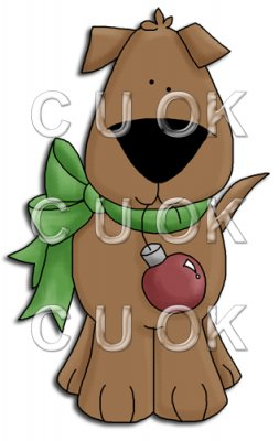 REF692 - Christmas Dog With Bauble Tied Round His Neck