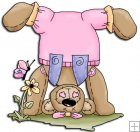 REF324 - Headstand Button Bear Wearing Pink Dungarees