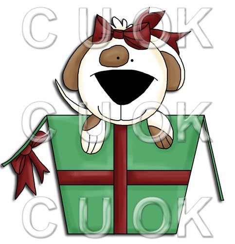 REF691 - Christmas Dog Jumping Out Of Christmas Box - Click Image to Close