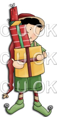 REF709- Christmas Elf Boy With Presents