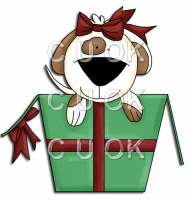 REF691 - Christmas Dog Jumping Out Of Christmas Box