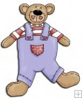 REF318 - Button Bear Blue Jeans Dungarees & Red & White Jumper