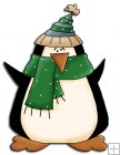 REF721- Christmas Penguin With Green Scarf