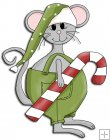 REF781- Christmas Mouse With Green Hat
