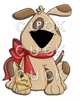 REF696 - Christmas Patch Dog With Red Bow