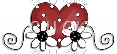 REF555 - Red Daisy Bear Heart & Daisy's