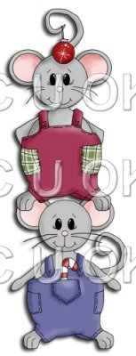REF762- Christmas Mice Standing On Shoulders